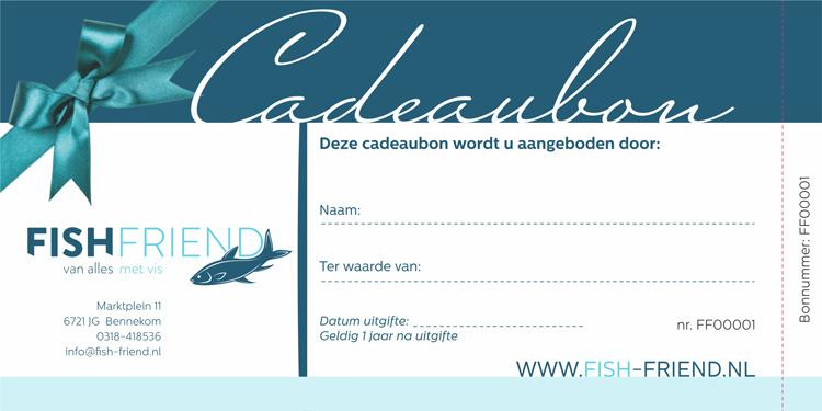 cadeaubon viswinkel vis Fishfriend visspeciaalzaak bennekom openingstijden